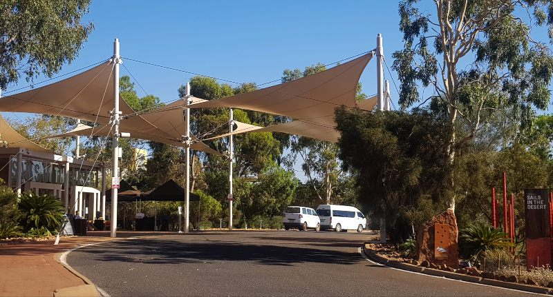The entry of Sails in the Desert at Uluru