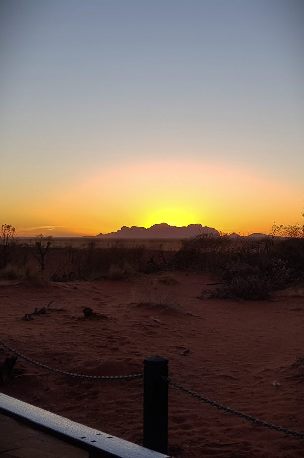Olgas sunset from distance