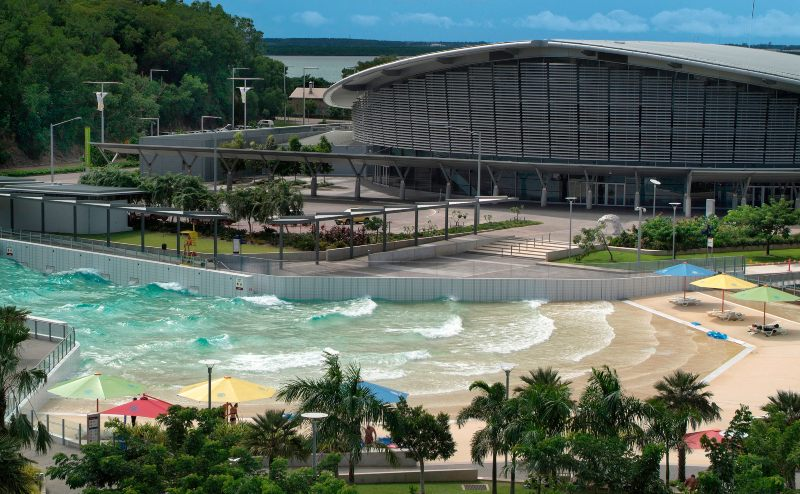 Australia -  Darwin Convention Center on the Wharf Precinct - Waterfront - with the wave pool named The Lagoon