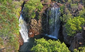 Aerial landscape view of Florence Falls in Litchfield National Park Northern Territory Australia