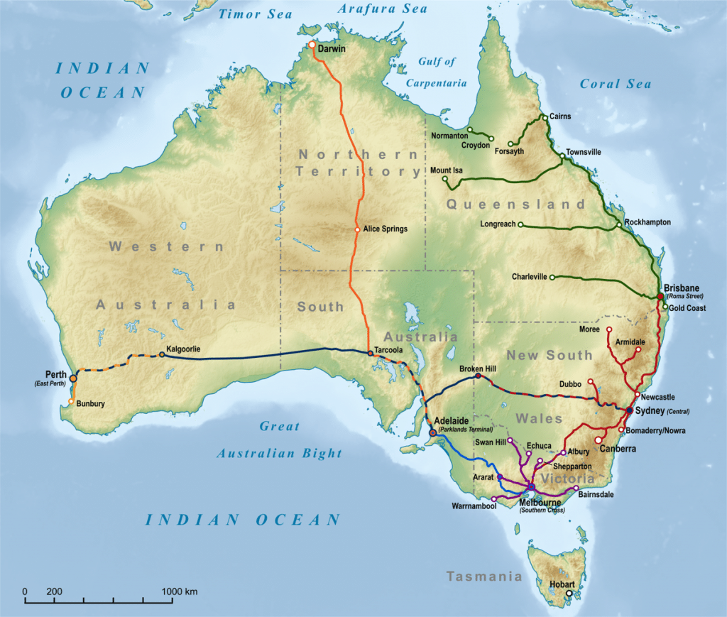 Australian Train Trips map