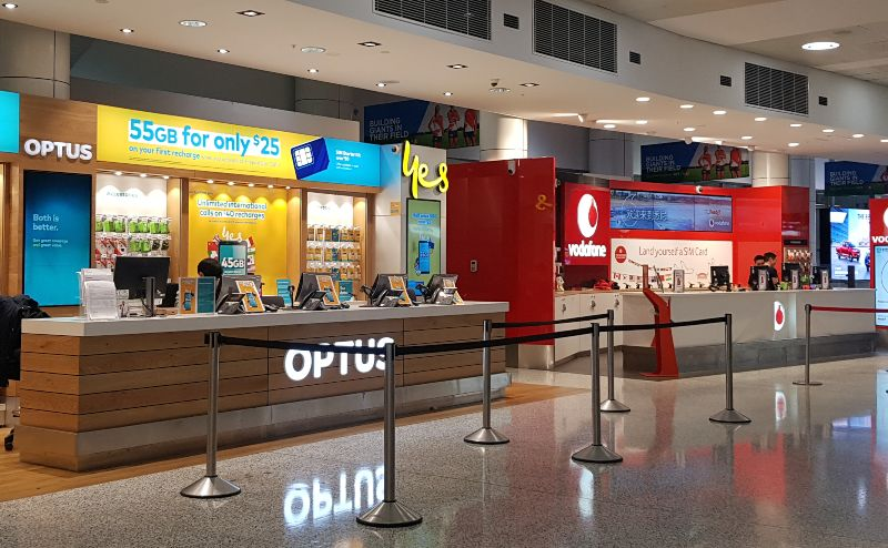 Airport Sim Counters at Sydney Airport