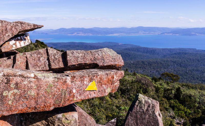 View from Bishop and Clerk peak on Maria Island, Tasmania, Australia