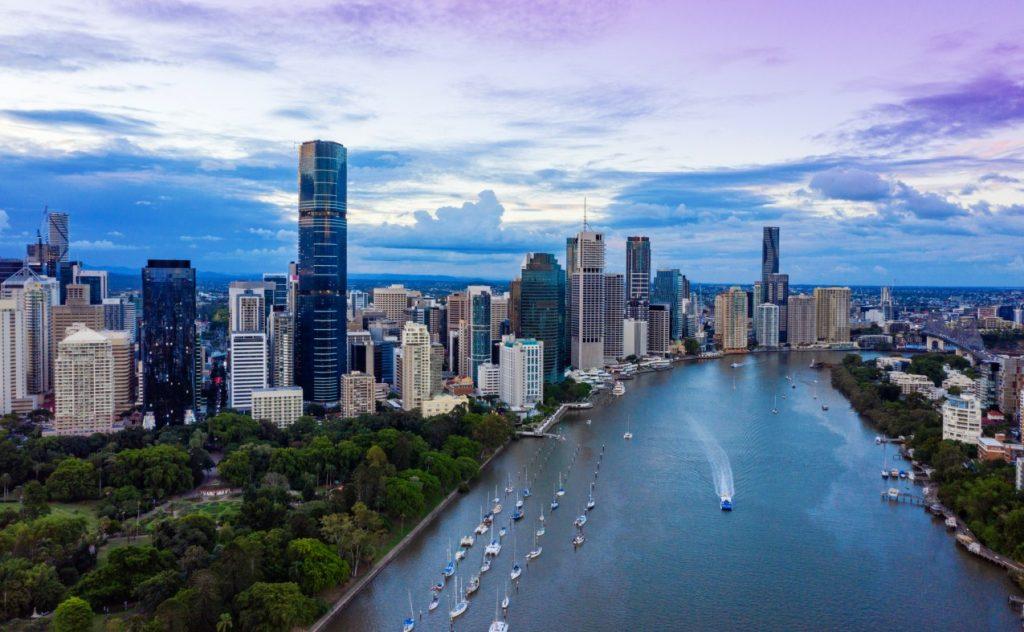Brisbane skyline at sunset, Australia