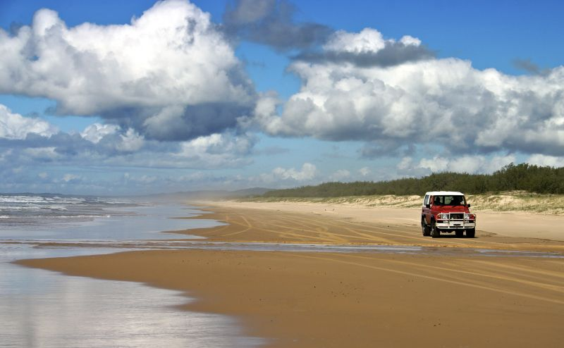 Driving on Fraser Island Queensland