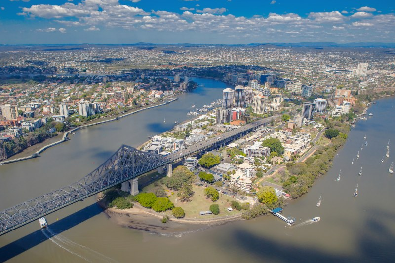 Kangaroo Points suburb of Brisbane from the air, Story Bridge