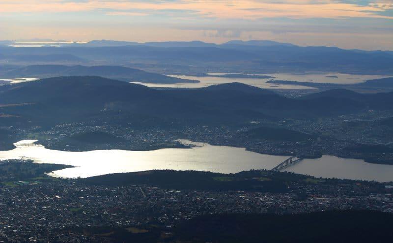 Mount Wellington View over the Derwent River Tasmania