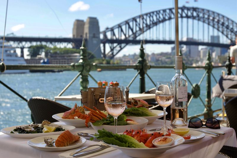 seafood with a view of the harbour