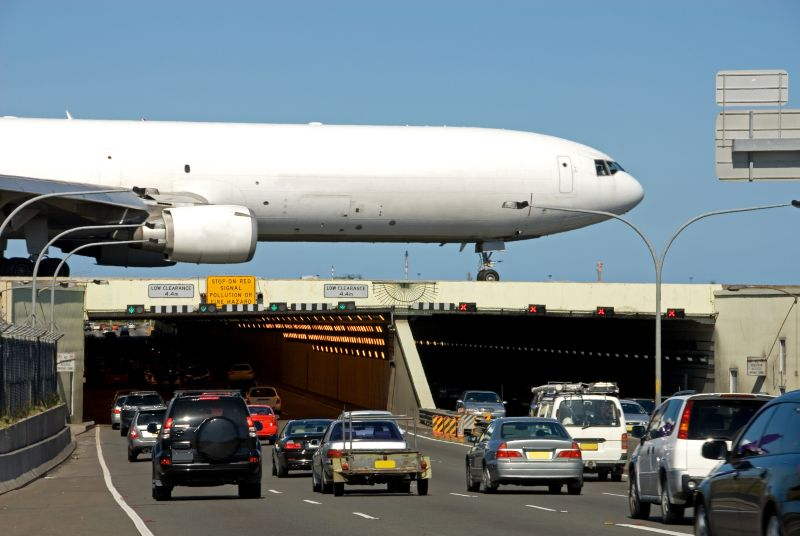 The airport is on top of the road Sydney