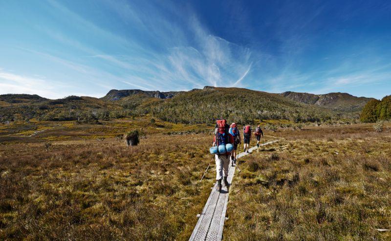 Hikers on Overland Trail in Tasmania, Australia