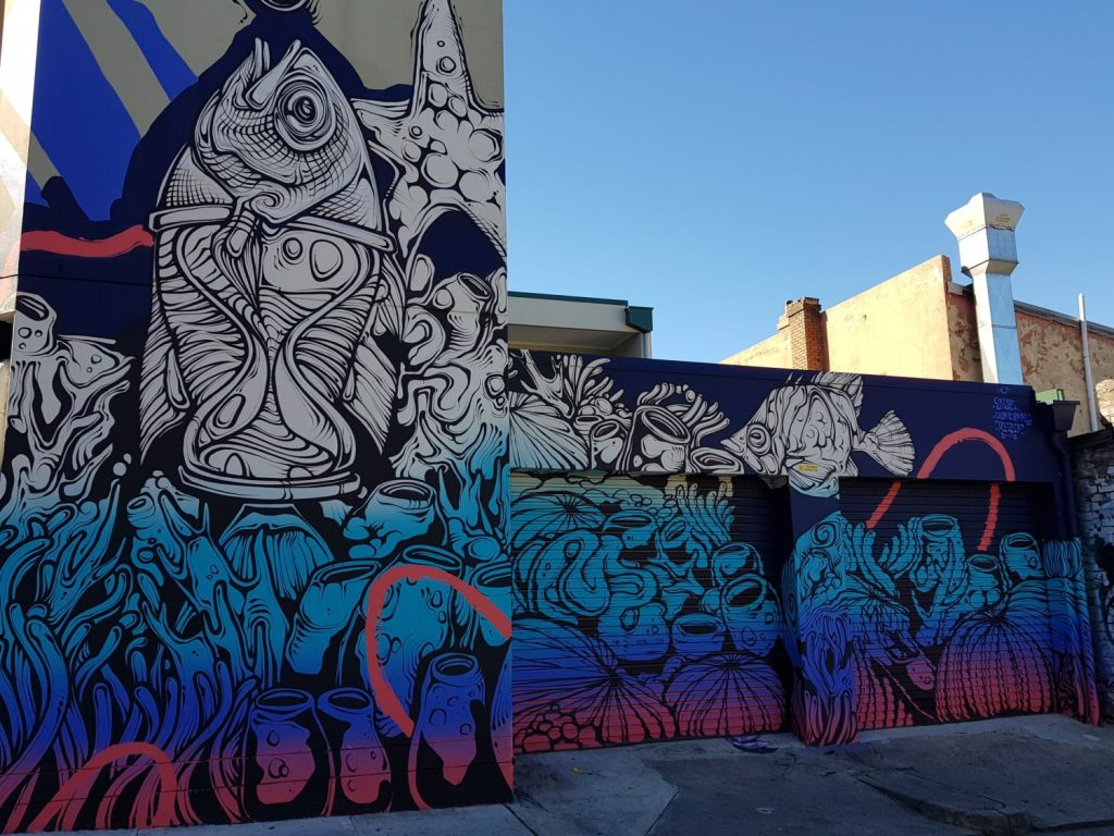 George Rose Street Artists mural in Newtown of the Great Barrier Reef