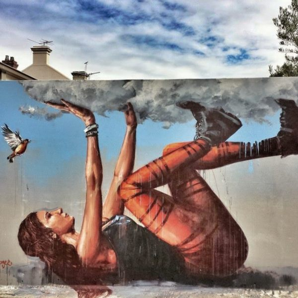 Fintan Magee mural Bracing a falling sky - no longer visible Newtown.