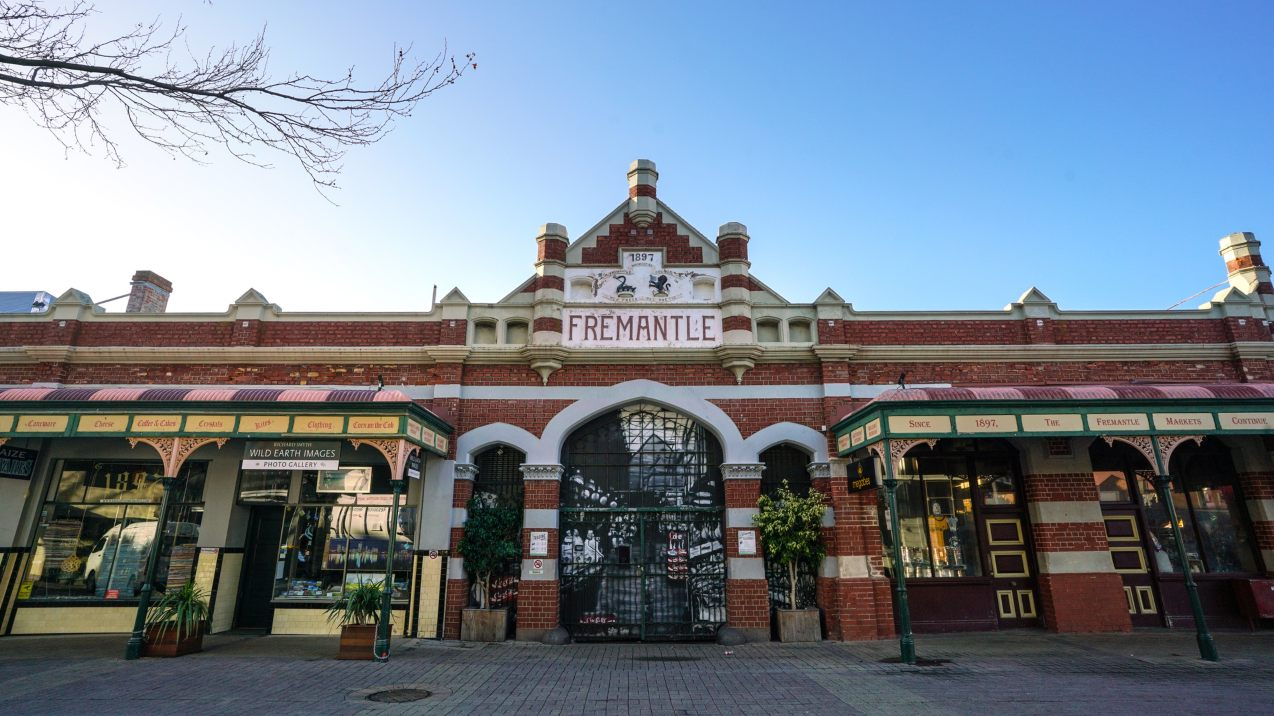 Fremantle, Western Australia - Aug 6th 2019: The landmark Fremantle Markets is a public market selling food and fashion. The building was built in 1897.