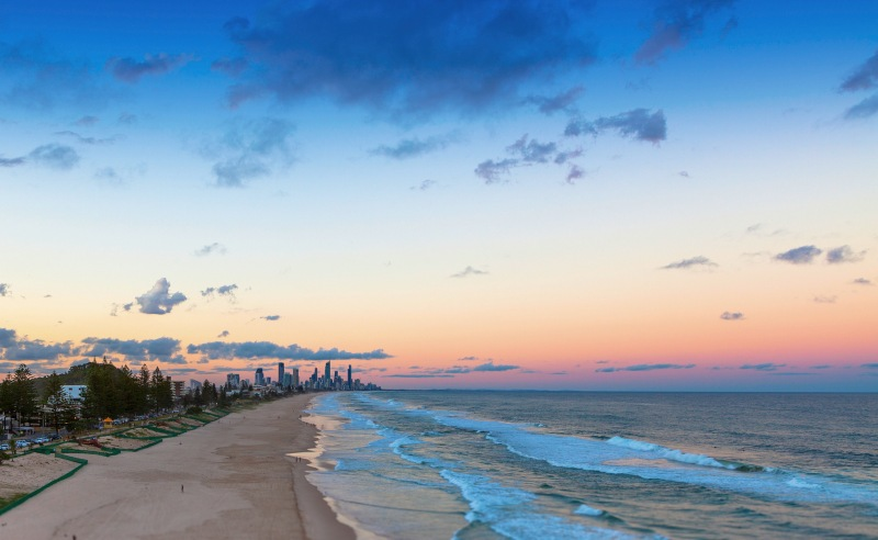 Sunset over Surfers Paradise on the Gold Coast, Queensland, Australia
