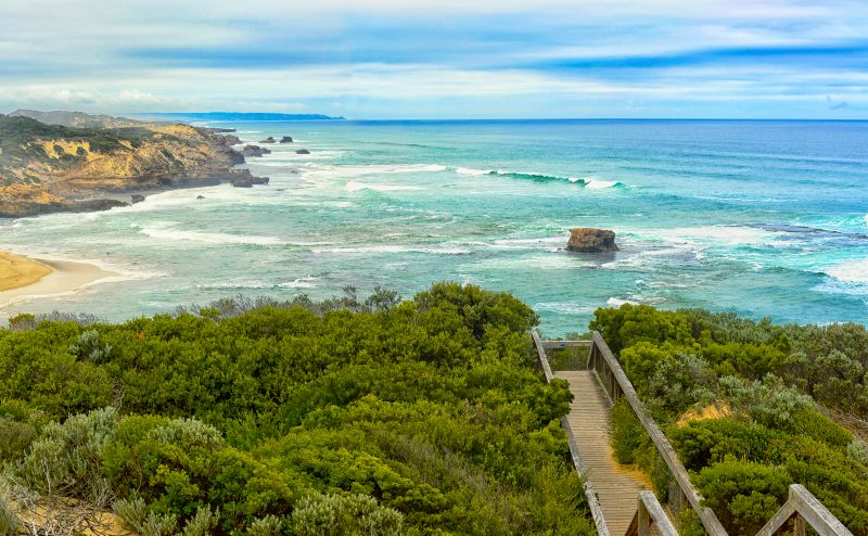 An aerial photo of Sorrento back beach (view from Coppins lookout).