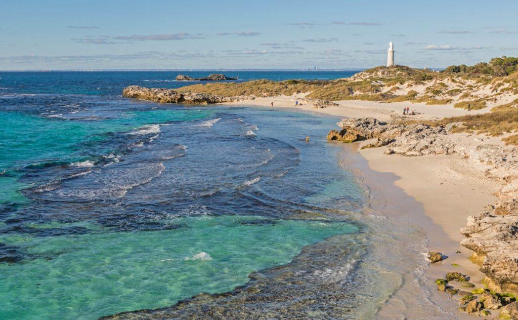 The Basin, Pinky Beach and Bathurst Lighthouse at Rottnest Island, near Perth in Western Australia.