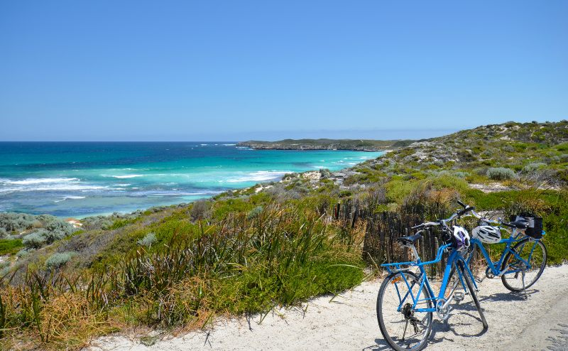 Australia, coast and vegation on Indian ocean in Rottnest Island, bicycles are a usual mode of transport