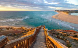 South Port Beach boardwalk at sunset, Port Noarlunga, South Australia