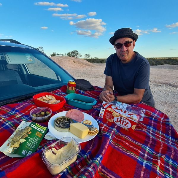 Sunset car bonnet picnic lightning ridge