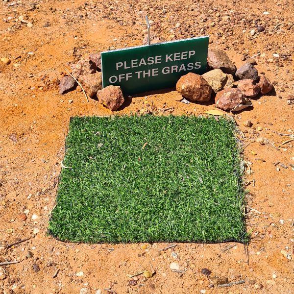 keep off the grass at the Ridge Castle Lightning Ridge