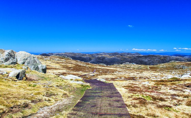 The walking track to Mount Kosciuszko in the Snowy Mountains, NSW