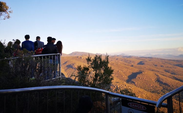 Grampians Balconies lookout with a crowd