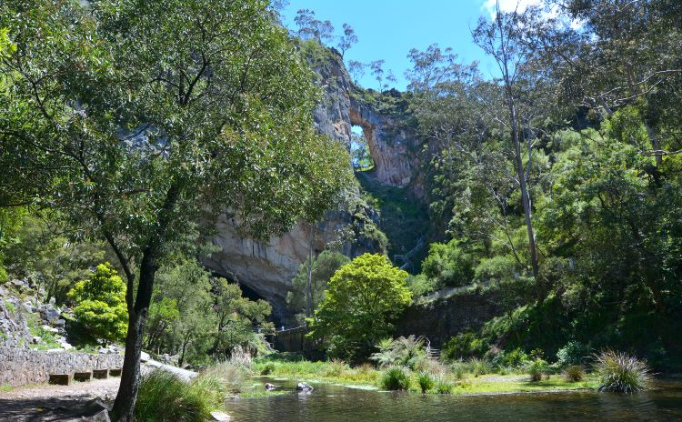 Landscape of Carlotta Arch and the Blue Lake in the Jenolan Caves at Blue Mountains of New South Wales, Australia.
