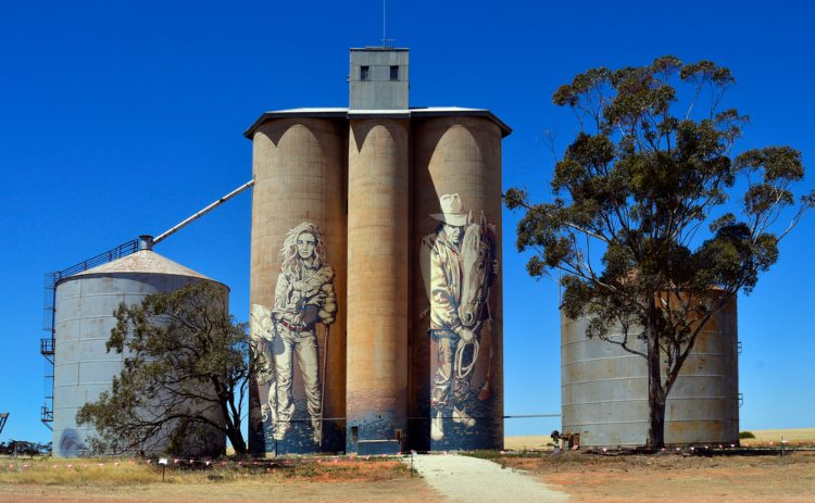 Mural by artist Kaff-eine of  farmers  at Rosebery