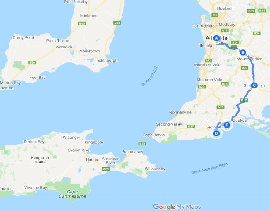 Port Elliot Itinerary map