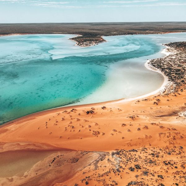 Blue water and red dirt in Peron National Park WA