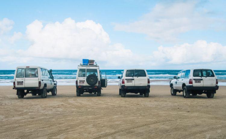 Fraser Island 4WDs on the beach 1