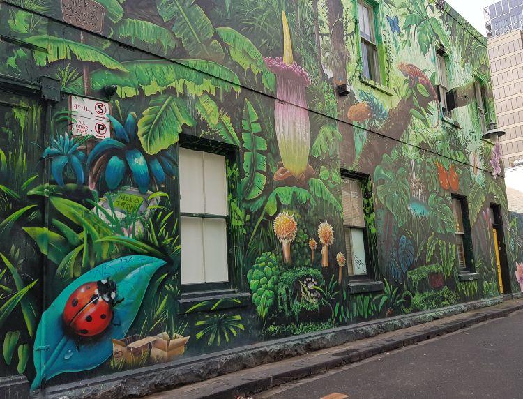 Popular street art mural in Meyers Place in Melbourne