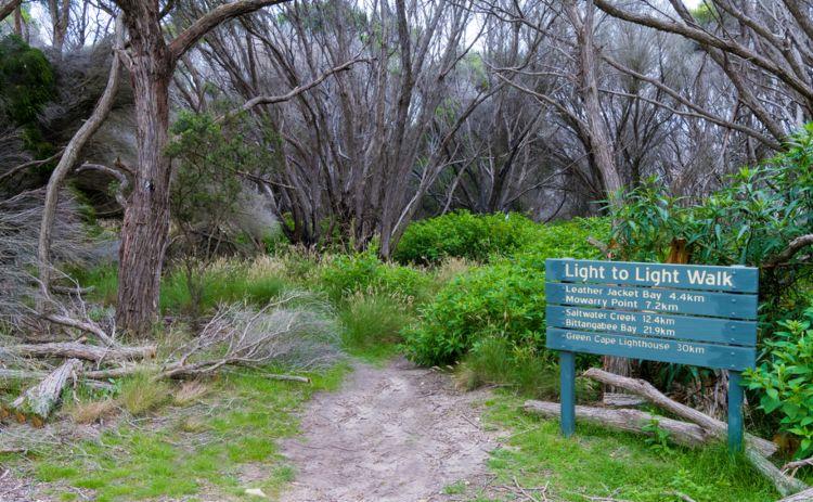 Light to light sign NSW Coast walk