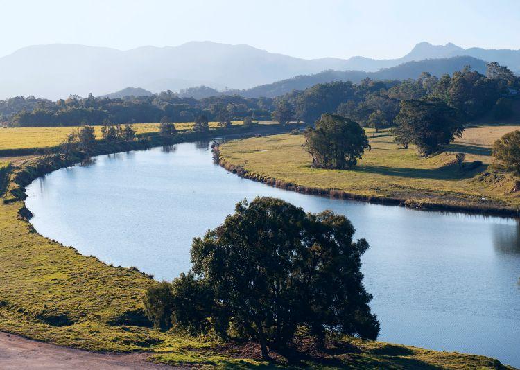 Scenic views of the Tweed River running through the Murwillumbah countryside.